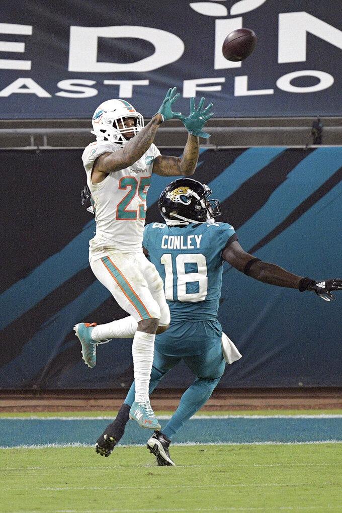 Miami Dolphins cornerback Xavien Howard, left, intercept a pass intended for Jacksonville Jaguars wide receiver Chris Conley (18) during the second half of an NFL football game, Thursday, Sept. 24, 2020, in Jacksonville, Fla. (AP Photo/Phelan M. Ebenhack)