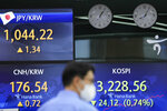 A currency trader walks by the screens showing the Korea Composite Stock Price Index (KOSPI), right, and the foreign exchange rates at the foreign exchange dealing room in Seoul, South Korea, Friday, July 9, 2021. Shares were mostly lower in Asia on Friday after stocks pulled back from their recent record highs on Wall Street as bond yields fell and investors turned cautious. (AP Photo/Lee Jin-man)