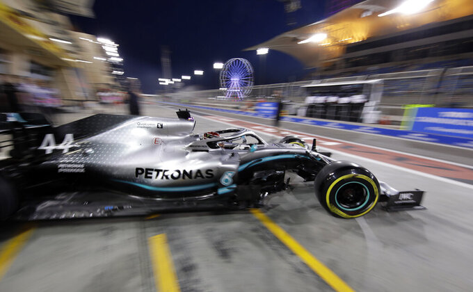 Mercedes driver Lewis Hamilton of Britain leaves the pit during the second free practice at the Formula One Bahrain International Circuit in Sakhir, Bahrain, Friday, March 29, 2019. The Bahrain Formula One Grand Prix will take place on Sunday. (AP Photo/Luca Bruno)