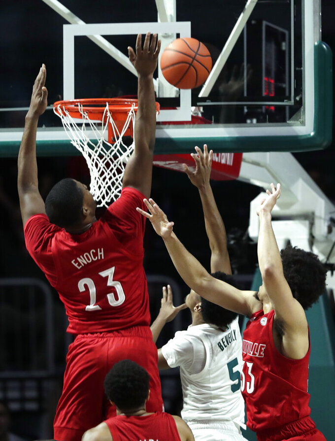 Nwora scores 23 to lead No. 5 Louisville past Miami 87-74