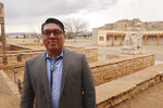 Acoma Pueblo Gov. Brian Vallo poses outside the pueblo's cultural center Thursday, March 21, 2019, about 60 miles west of Albuquerque, New Mexico. Native American leaders are banding together to pressure U.S. officials to prevent oil and gas exploration around Chaco Culture National Historical Park, which features the remnants of an ancient civilization. (AP Photo/Felicia Fonseca)
