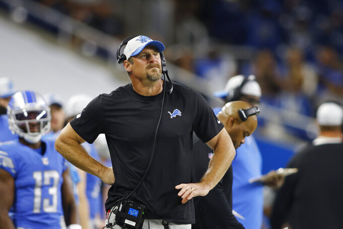 Detroit Lions head coach Dan Campbell watches from the sideline during the first half of a preseason NFL football game against the Indianapolis Colts, Friday, Aug. 27, 2021, in Detroit. (AP Photo/Al Goldis)