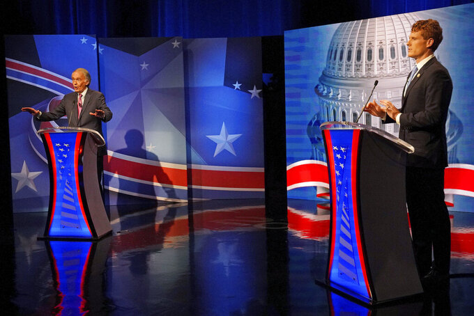 Sen. Edward Markey, left, D-Mass., debates challenger Rep. Joseph P. Kennedy III, D-Mass., in the final debate leading up to the Democratic primary, Tuesday, Aug. 18, 2020, in Needham, Mass. (Barry Chin/The Boston Globe via AP, Pool)