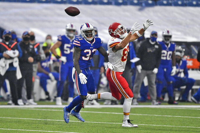 Buffalo Bills' Siran Neal, left, defends as Kansas City Chiefs' Travis Kelce can't make the catch during the first half of an NFL football game, Monday, Oct. 19, 2020, in Orchard Park, N.Y. (AP Photo/Adrian Kraus)