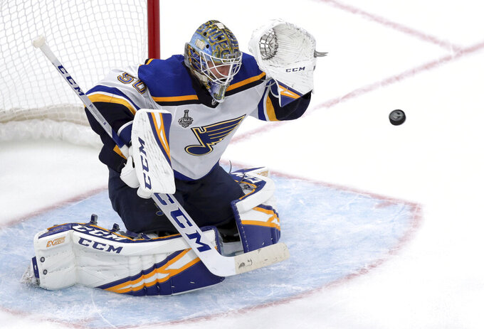 St. Louis Blues goaltender Jordan Binnington defends the net during the second period in Game 2 of the NHL hockey Stanley Cup Final against the Boston Bruins, Wednesday, May 29, 2019, in Boston. (AP Photo/Charles Krupa)