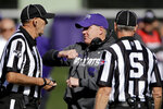 Kansas State head coach Chris Klieman talks to officials during the first half of an NCAA college football game against Oklahoma, Saturday, Oct. 26, 2019, in Manhattan, Kan. (AP Photo/Charlie Riedel)