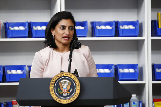 FILE - In this July 24, 2020, file photo Administrator of the Centers for Medicare and Medicaid Services Seema Verma speaks during an event with President Donald Trump to sign executive orders on lowering drug prices, in the South Court Auditorium in the White House complex in Washington. Private consultants to the federal official who oversees Medicare billed taxpayers almost $6 million in less than two years to bolster her personal image, including efforts to win awards, place her on lists of powerful women and arrange meetings with influential people, a report by congressional Democrats said Thursday, Sept. 10. (AP Photo/Alex Brandon, File)