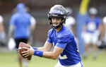 This photo taken Friday, Aug. 2, 2019, shows Duke quarterback Gunnar Holmberg during an NCAA college football practice in Durham, N.C. (AP Photo/Gerry Broome)