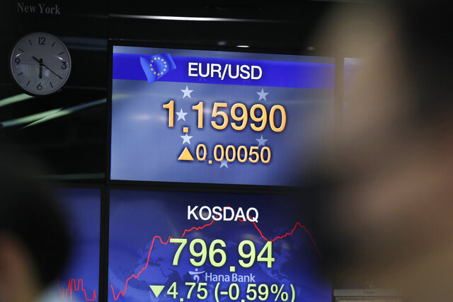A currency trader watches computer monitors near screens showing the Korean Securities Dealers Automated Quotations (KOSDAQ) and the foreign exchange rate at the foreign exchange dealing room in Seoul, South Korea, Friday, July 24, 2020. Worsening China-U.S. friction, worries over aid to Americans and U.S. businesses and a stumble on Wall Street combined to push shares in Asia lower on Friday. (AP Photo/Lee Jin-man)