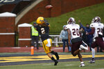Appalachian State wide receiver Corey Xavier Sutton (2)hauls in a pass in front of Texas State defensive back Khambrail Winters (20) and safety Jalen Smith (24) for a touchdown during the first half of an NCAA college football game Saturday, Nov. 23, 2019, in Boone, N.C. (AP Photo/Brian Blanco)