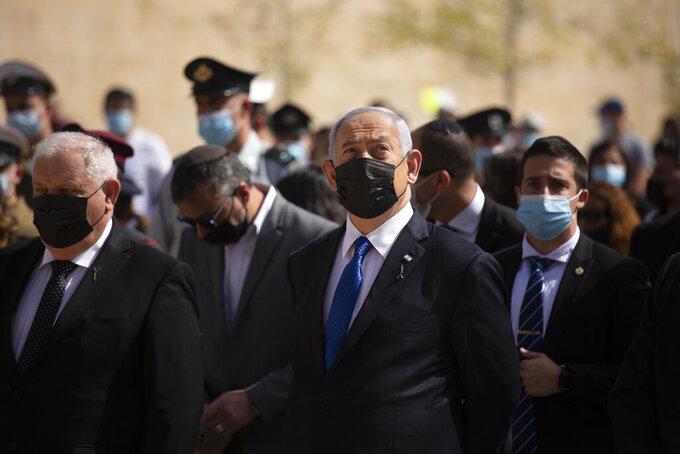 Israeli Prime Minister Benjamin Netanyahu attends a ceremony marking the annual Holocaust Remembrance Day at Yad Vashem Holocaust Memorial in Jerusalem, Thursday, April 8, 2021. (AP Photo/Maya Alleruzzo, Pool)