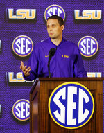 LSU coach Will Wade speaks during the Southeastern Conference men's NCAA college basketball media day, Wednesday, Oct. 17, 2018, in Birmingham, Ala. (AP Photo/Butch Dill)