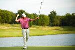 Jim Herman celebrates after winning the PGA Barbasol Championship golf tournament at Keene Trace Golf Club's Champions Course in Nicholasville, Ky., Sunday, July 21, 2019. (Alex Slitz/Lexington Herald-Leader via AP)