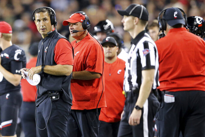 Cincinnati coach Luke Fickell looks down the sideline during the second half of the team's NCAA college football game against UCLA on Thursday, Aug. 29, 2019, in Cincinnati. (Kareem Elgazzar/The Cincinnati Enquirer via AP)