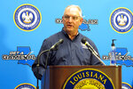 Louisiana Gov. John Bel Edwards talks about his state's response to Hurricane Laura and to the coronavirus pandemic during a news conference, Tuesday, Sept. 1, 2020, in Baton Rouge, La. (AP Photo/Melinda Deslatte)