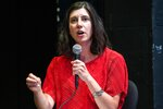 Jessyn Farrell, a candidate for Mayor of Seattle, takes part in a forum focused on arts and culture, Thursday, July 22, 2021 at the Langston Hughes Performing Arts Institute in Seattle. The city's mayoral primary election will be held on Tuesday, Aug. 3. (Dean Rutz/The Seattle Times via AP)