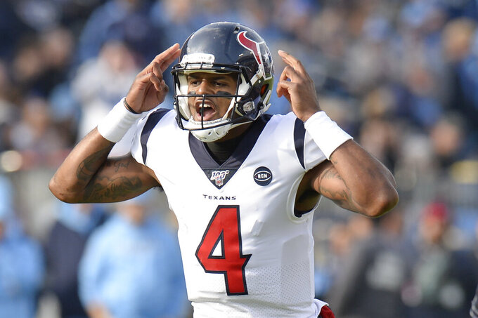 Houston Texans quarterback Deshaun Watson calls a play against the Tennessee Titans in the first half of an NFL football game Sunday, Dec. 15, 2019, in Nashville, Tenn. (AP Photo/Mark Zaleski)