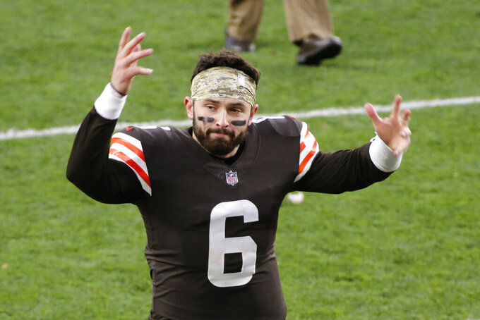Cleveland Browns quarterback Baker Mayfield celebrates after the Browns defeated the Houston Texans in an NFL football game, Sunday, Nov. 15, 2020, in Cleveland. (AP Photo/Ron Schwane)