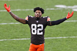 Cleveland Browns wide receiver Rashard Higgins celebrates after the team defeated the Pittsburgh Steelers in an NFL football game, Sunday, Jan. 3, 2021, in Cleveland. (AP Photo/Ron Schwane)