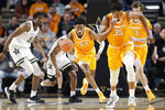 Tennessee guard Jordan Bowden (23) brings the ball up against Vanderbilt during the first half of an NCAA college basketball game Saturday, Jan. 18, 2020, in Nashville, Tenn. (AP Photo/Mark Humphrey)