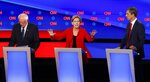 Sen. Elizabeth Warren, D-Mass., speaks as she participates in the first of two Democratic presidential primary debates hosted by CNN Tuesday, July 30, 2019, in the Fox Theatre in Detroit. Sen. Bernie Sanders, I-Vt., left, and former Texas Rep. Beto O'Rourke listen. (AP Photo/Paul Sancya)