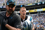 Carolina Panthers running back Christian McCaffrey runs to the locker room during the second half of an NFL football game against the New Orleans Saints Sunday, Sept. 19, 2021, in Charlotte, N.C. (AP Photo/Jacob Kupferman)