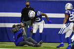 Indianapolis Colts' T.Y. Hilton (13) celebrates after catching a two-point conversion during the second half of an NFL football game against the Jacksonville Jaguars, Sunday, Jan. 3, 2021, in Indianapolis. (AP Photo/Michael Conroy)