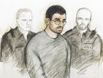 Court artist sketch by Elizabeth Cook of Hashem Abedi in the dock at Westminster Magistrates' Court where he is appearing following his extradition from Libya, in London, Thursday July 18, 2019. The brother of the suicide bomber who killed almost two dozen people at an Ariana Grande concert in Manchester appeared in court Thursday to face 22 charges of murder. (Elizabeth Cook/PA via AP)