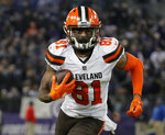 FILE - In this Dec. 30, 2018, file photo, Cleveland Browns wide receiver Rashard Higgins runs in the second half of an NFL football game against the Baltimore Ravens, in Baltimore. Ohio. On the first day of their offseason program, the Browns signed free agent wide receiver Rashard Higgins. (AP Photo/Carolyn Kaster, File)