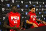 Utah's Both Gach, left, and Timmy Allen speak during the Pac-12 NCAA college basketball media day Tuesday, Oct. 8, 2019 in San Francisco. (AP Photo/D. Ross Cameron)