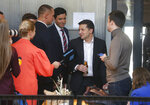 Ukrainian President Volodymyr Zelenskiy speaks with journalists during in an all-day