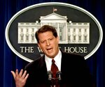 FILE - In this March 3, 1997, file photo Vice President Al Gore meets with reporters in the White House briefing room in Washington. (AP Photo/Ruth Fremson, File)