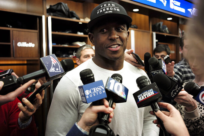 New England Patriots wide receiver Matthew Slater speaks with reporters in the team's locker room following an NFL football practice, Wednesday, Dec. 18, 2019, in Foxborough, Mass. (AP Photo/Steven Senne)