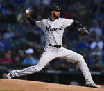 Miami Marlins starter Sandy Alcantara delivers a pitch during the first inning of a baseball game against the Chicago Cubs, Monday, May 6, 2019, in Chicago. (AP Photo/Paul Beaty)