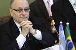 """FILE - In this July 14, 2017 file photo, Argentina's Foreign Minister Jorge Faurie attends a meeting at the Itamaraty Palace, in Brasilia, Brazil. The Argentine Foreign Ministry said in a statement Friday, June 28, 2019, that South America's Mercosur trade bloc has struck a """"strategic association"""" trade deal with the European Union, clinched in the Belgian capital of Brussels following two decades of negotiations. The Mercosur bloc includes Argentina, Brazil, Paraguay and Uruguay. (AP Photo/Eraldo Peres, File)"""
