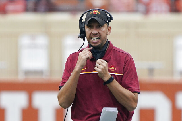 Iowa State head coach Matt Campbell reacts during the first half of an NCAA college football game against Texas, Friday, Nov. 27, 2020, in Austin, Texas. (AP Photo/Eric Gay)