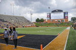 Wake Forest's BB&T Field is evacuated during a severe weather delay in the second half of an NCAA college football game between Wake Forest and Towson in Winston-Salem, N.C., Saturday, Sept. 8, 2018. (AP Photo/Nell Redmond)