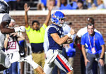Mississippi quarterback John Rhys Plumlee (10) runs 33 yards for a touchdown against Vanderbilt during an NCAA college football game in Oxford, Oxford, Miss., Saturday, Oct. 5, 2019. (Bruce Newman/The Oxford Eagle via AP)