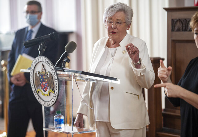 Alabama Gov. Kay Ivey speaks at the State Capitol in Montgomery, Ala., on Friday, May 8, 2020. (Jake Crandall/The Montgomery Advertiser via AP)