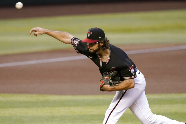 Arizona Diamondbacks starting pitcher Zac Gallen throws against the San Francisco Giants during the first inning of a baseball game, Friday, Aug. 28, 2020, in Phoenix. (AP Photo/Matt York)