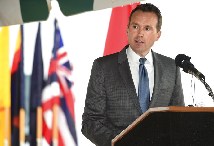 FILE - In this Nov. 29, 2016, file photo, Army Secretary Eric Fanning speaks during a groundbreaking for the new U.S. Army Cyber Command Complex at Fort Gordon, Ga. Fanning, who served as Army secretary from 2016 to 2017, says he's supporting Joe Biden for president, the latest endorsement from a former military leader who had criticized President Donald Trump over his handling of anti-racism demonstrations. (Michael Holahan/The Augusta Chronicle via AP, FIle)
