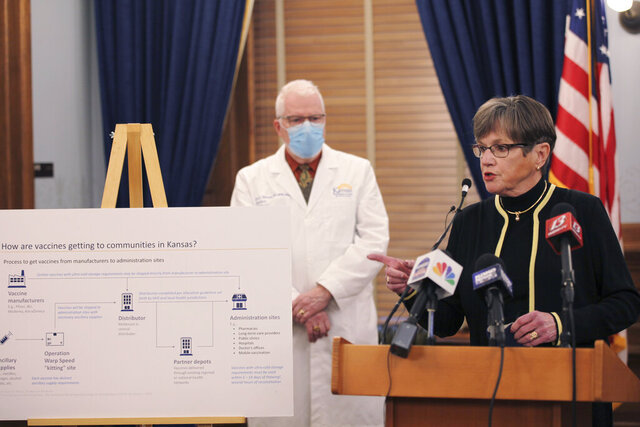 Kansas Gov. Laura Kelly discusses the COVID-19 pandemic during a Statehouse news conference, Wednesday, Jan. 27, 2021 at the Statehouse in Topeka, Kan. State officials are trying to determine whether a coronavirus variant first identified in Great Britain or South Africa is responsible for an outbreak in a state prison. (AP Photo/John Hanna)