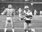FILE - In this Jan. 4, 1981, file photo, Dallas Cowboys wide receiver Drew Pearson (88) celebrates scoring the winning touchdown in the final minutes against the Atlanta Falcons in an NFC divisional playoff football game in Atlanta. Pearson will be inducted into the Pro Football Hall of Fame on Aug. 8, 2021. (AP Photo/File)