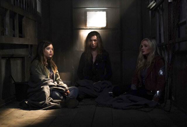 This image released by ABC shows  Jade Pettyjohn, from left, Jesse James Keitel and Natalie Alyn Lind in a scene from