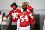 Tampa Bay Buccaneers inside linebacker Lavonte David during NFL football practice, Tuesday, Feb. 2, 2021 in Tampa, Fla. The Buccaneers will face the Kansas City Chiefs in Super Bowl 55. (Tori Richman/Tampa Bay Buccaneers via AP)
