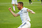 Chicago Fire midfielder Luka Stojanovic (8) celebrates after scoring against Inter Miami during the second half of an MLS soccer match, Saturday, May 22, 2021, in Chicago. (AP Photo/Kamil Krzaczynski)