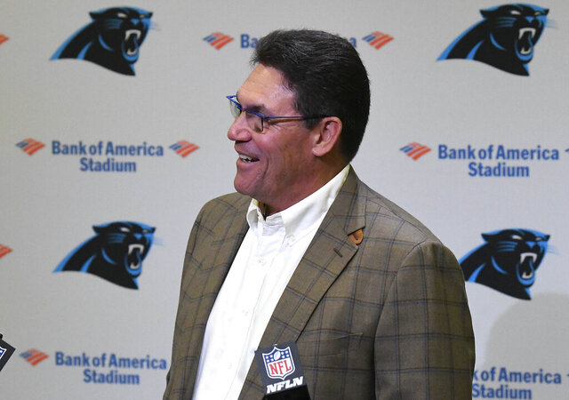 Former Carolina Panthers head coach Ron Rivera laughs at a question from the media during a press conference at Bank of America Stadium in Charlotte, NC on Wednesday, December 4, 2019. Rivera was fired as coach on Tuesday.(David T. Foster III/The Charlotte Observer via AP)