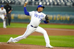 Kansas City Royals starting pitcher Carlos Hernandez delivers to a St. Louis Cardinals batter during the first inning of a baseball game at Kauffman Stadium in Kansas City, Mo., Monday, Sept. 21, 2020. (AP Photo/Orlin Wagner)