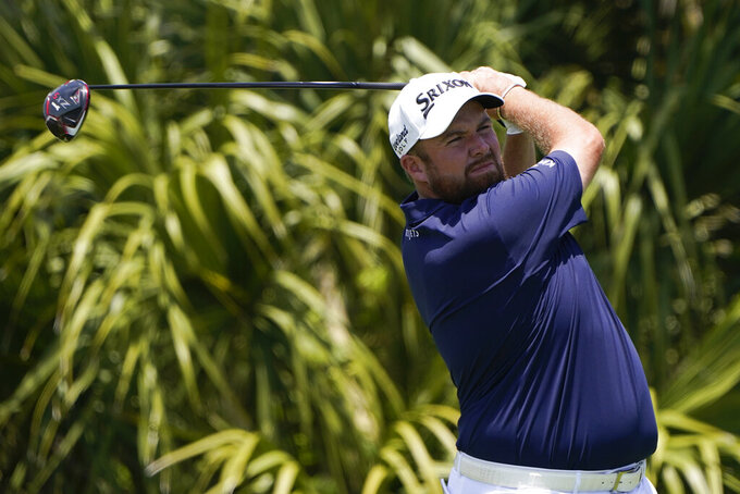 Shane Lowry, of Ireland, works off the second tee during the third round at the PGA Championship golf tournament on the Ocean Course, Saturday, May 22, 2021, in Kiawah Island, S.C. (AP Photo/Chris Carlson)