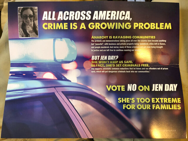 A campaign mailer from Nebraska state Sen. Andrew La Grone, of Gretna, is shown on Tuesday, Sept. 22, 2020, in Gretna, Neb., with a photo that incorrectly claims to be La Grone's opponent, Jen Day, of Omaha. The photo in the ad is actually an image of one of Day's campaign staffers, Brooklynne Rosado, of Omaha. La Grone said the campaign intended to use a photo of Day and the error was